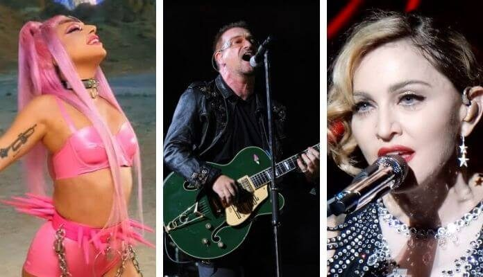 Lady Gaga, Bono, and Madonna