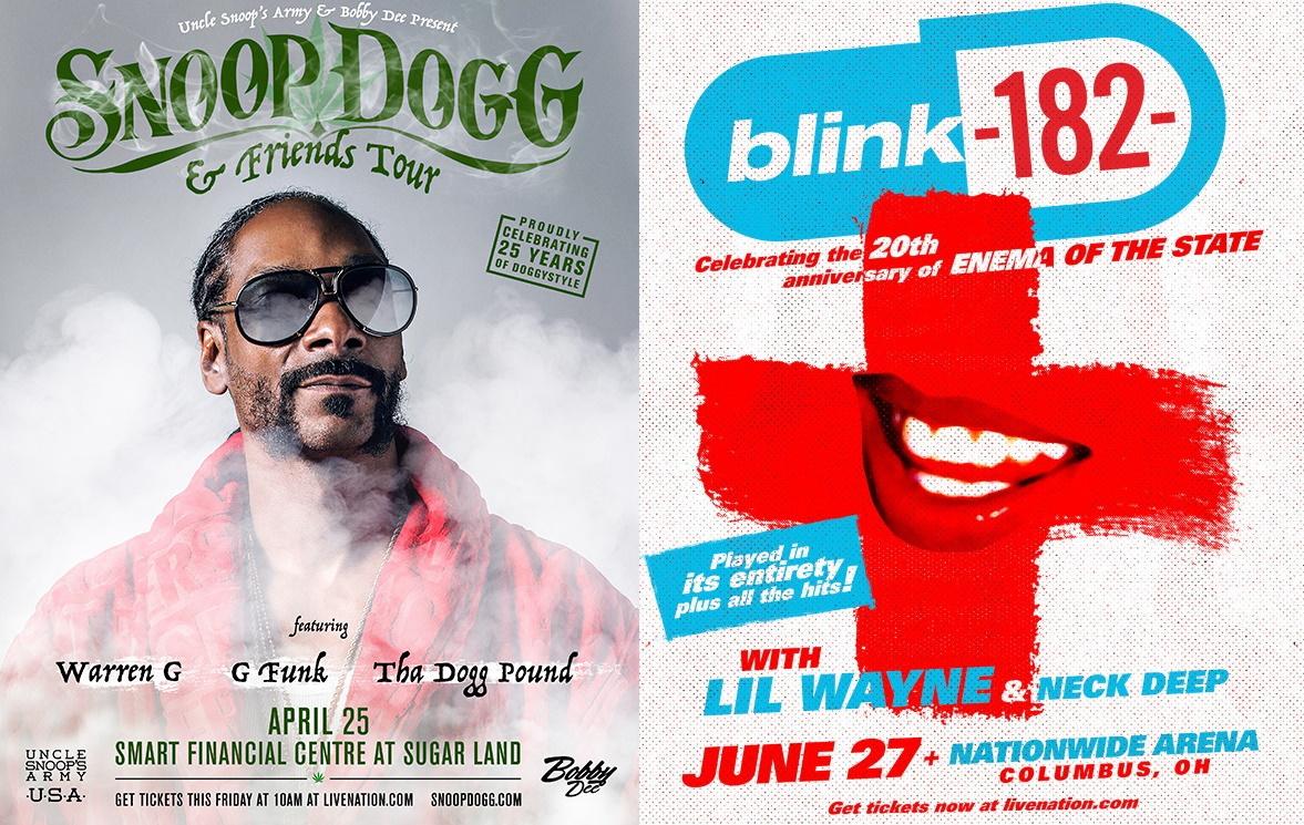 Posters de Snoop Dogg e blink-182