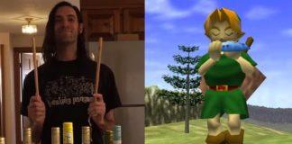 Músico toca tema de Ocarina Of Time em garrafas