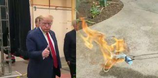 Donald Trump e máscara queimando