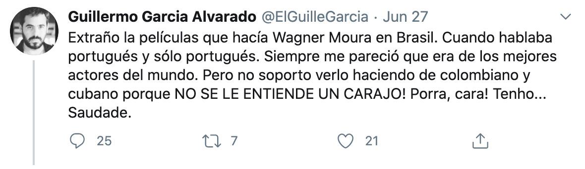 Ator venezuelano critica Wagner Moura