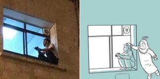 Coronavírus: Homem escala janela para se despedir da mãe