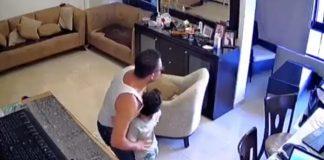 Pai protege filho em explosão no Líbano