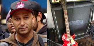 Tom Morello e sua Les Paul vermelha