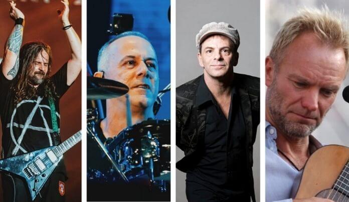 Andreas Kisser, João Barone, Rodrigo Santos e Sting