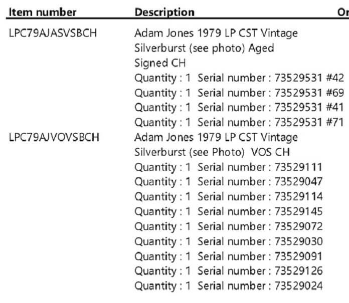 Números de série das guitarras Gibson roubadas