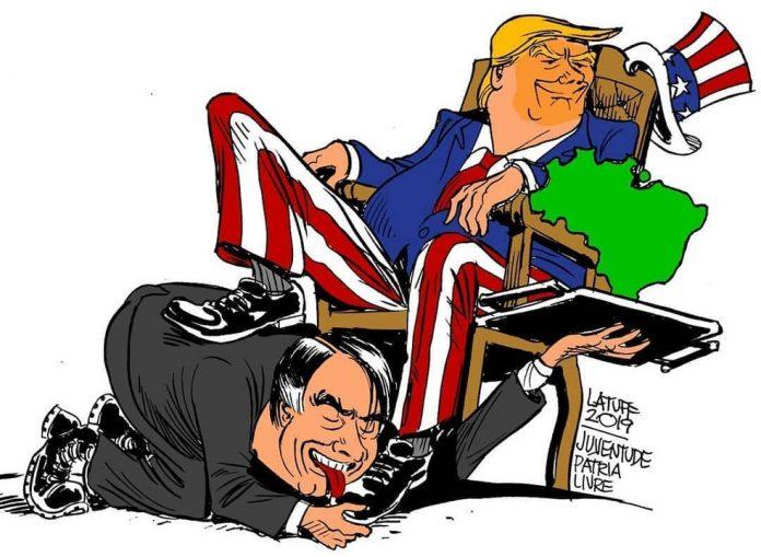 Charge critica relação entre Brasil e Estados Unidos
