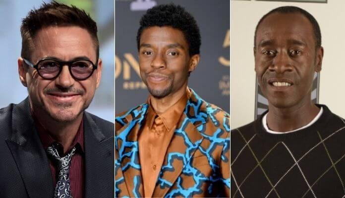 Robert Downey Jr., Chadwick Boseman e Don Cheadle