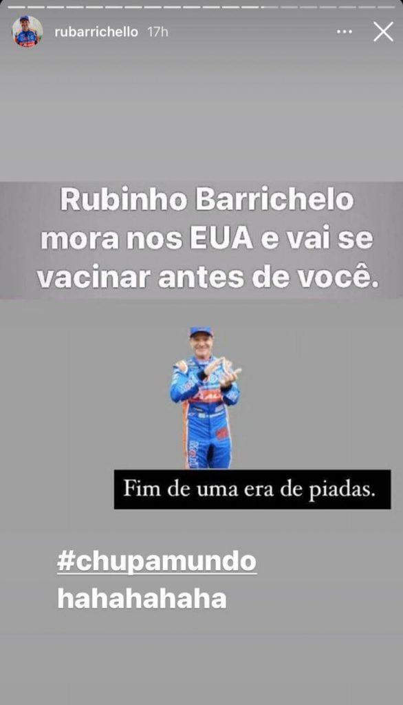 Story de Rubens Barrichello sobre vacina da COVID-19