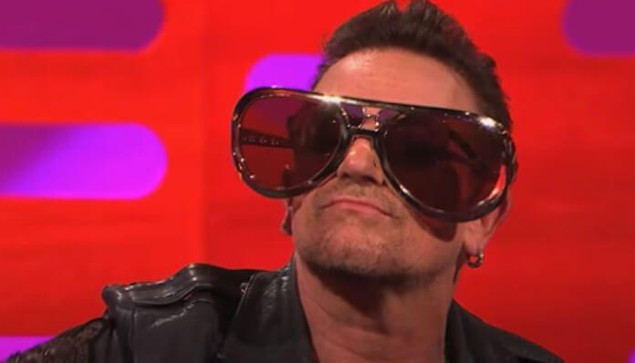 Bono com óculos de sol exagerado
