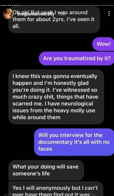 Mensagem relatando abuso do rapper T.I.