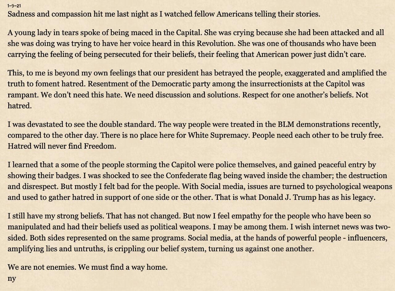 Mensagem de Neil Young sobre invasão ao Capitólio nos EUA