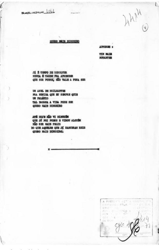 """Letra de """"Quero Mais Dinheiro"""" (Tim Maia e Os Mutantes)"""