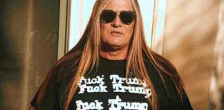 "Sebastian Bach com camiseta ""Fuck Trump"""