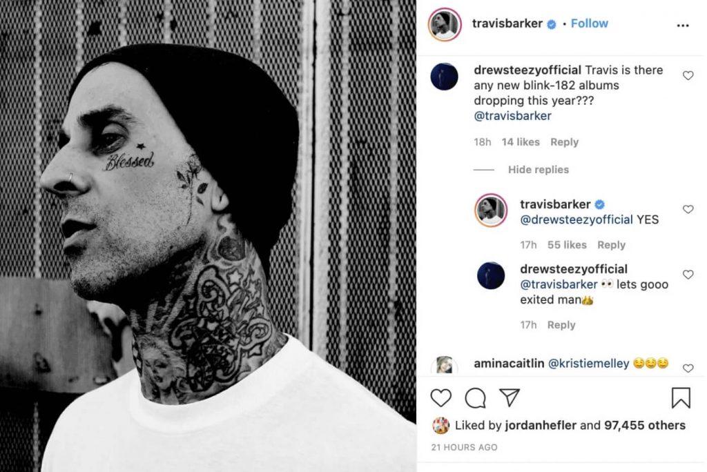 Travis Barker confirma novo disco do blink-182