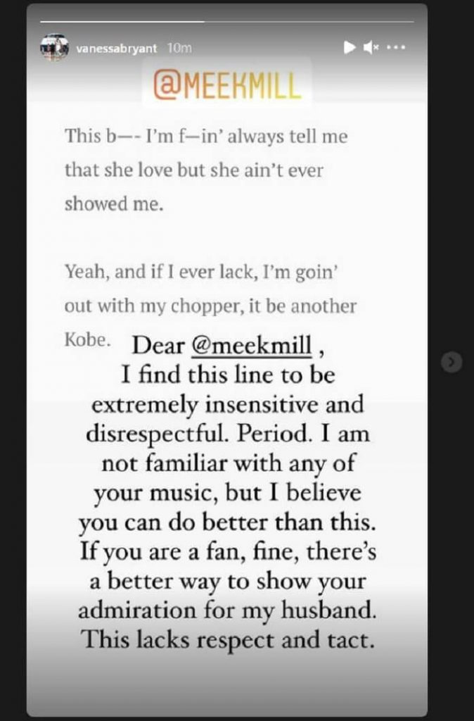 Vanessa Bryant detona o rapper Meek Mill em mensagem