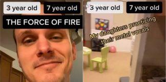 Pai filma orgulhosamente suas filhas treinando gritos de heavy metal