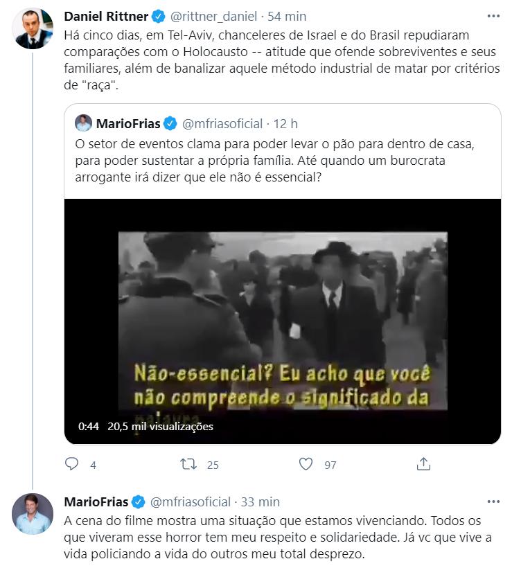 Mario Frias falando sobre pandemia