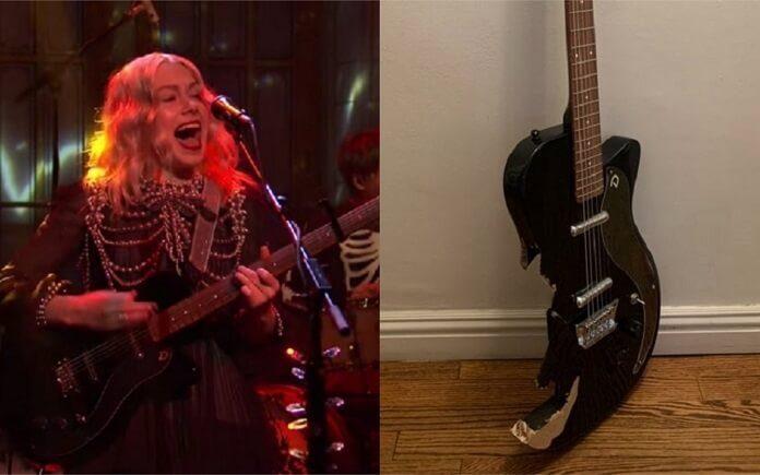 Guitarra quebrada por Phoebe Bridgers no SNL é leiloada por mais de R$ 580 mil