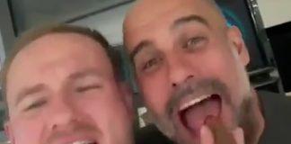 Pep Guardiola celebra título com Oasis