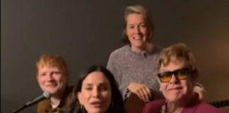 """Friends: Ed Sheeran, Elton John e Courteney Cox cantando """"Tiny Dancer"""""""