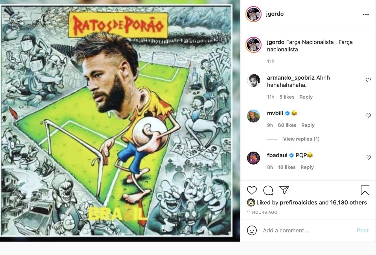 Post de João Gordo detonando Neymar