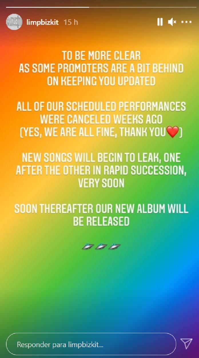 Limp Bizkit anuncia lançamento de novas músicas e próximo disco em breve