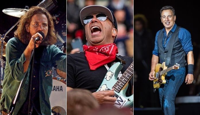 Tom Morello com Eddie Vedder e Bruce Springsteen